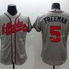 2017 Commemorative Patch Atlanta Braves Mens #5 Freddie Freeman Gray