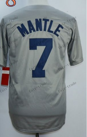 New York  #7 mickey mantle Gray 2015 Baseball Jersey Rugby Jerseys Authentic Stitched