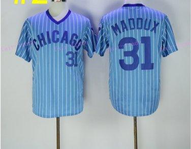 conew_chicago cubs #31 greg maddux cream 1929 2016 Baseball Jersey Rugby Jerseys Light Blue