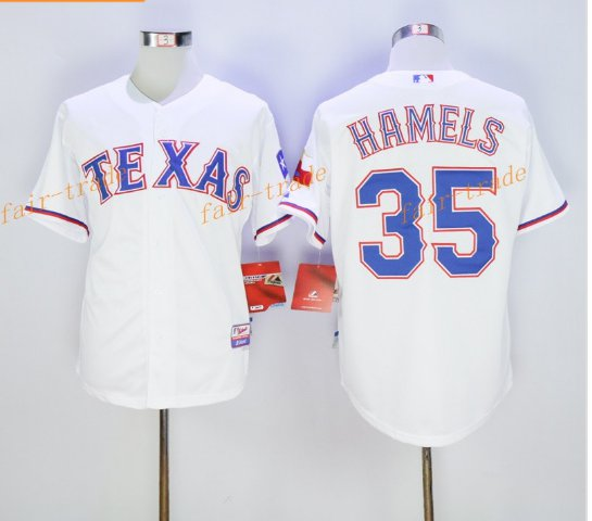 New Baseball 35 Cole Hamels Jersey Texas Rangers Cooperstown Flexbase Base Pullover Button White