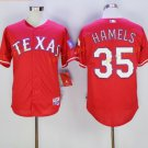 New Baseball 35 Cole Hamels Jersey Texas Rangers Cooperstown Flexbase Base Pullover Button Red