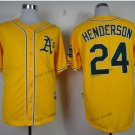 oakland athletics #24 rickey henderson 2015 Baseball Jersey  Rugby Jerseys Yellow Style 2