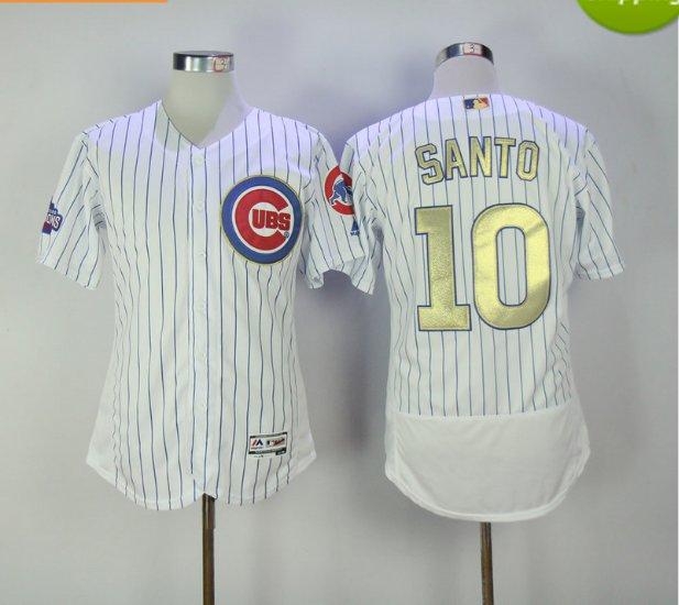 2017 Chicago Cubs 2016 Champions Gold Program 10 Ron Santo White Flexbase Jerseys