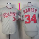 Bryce Harper Jersey 10th patch Authentic Washington Nationals Cool Base Jerseys Grey