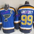 New York Rangers 99 Wayne Gretzky Jerseys Hockey St.Louis Blues Los Angeles Kings Vintage Blue S3