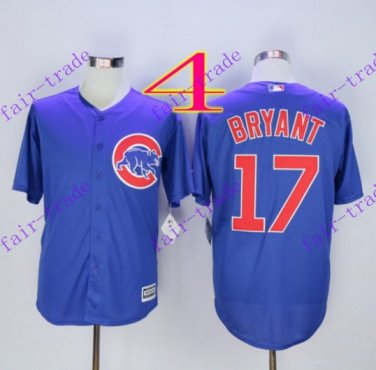 1b5e436a202 2016 Majestic Official Cool Base Stitched Chicago Cubs  17 Kris Bryant Blue  Baseball Jerseys