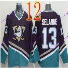 Cord Anaheim Ducks #13 Teemu Selanne Purple Hockey Jersey Stitched