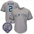 New York Yankees Baseball Jerseys 2 Derek Jeter Ruth Retirement Patch Gray