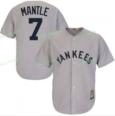 New York Yankees Baseball Jerseys 7 Mickey Mantle Ruth Retirement Patch Gray