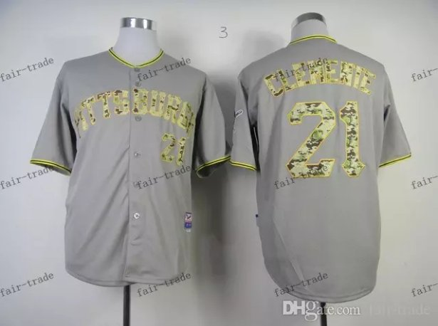 Pittsburgh Pirates 21 Roberto Clemente 2015 Baseball Gray Rugby Jerseys Authentic Stitched  Style 1
