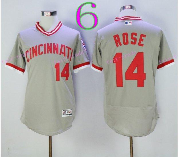 Cincinnati Reds 14 Pete Rose Flexbase Vintage Throwback Pullover Gray 1976 Cooperstown Jersey 1