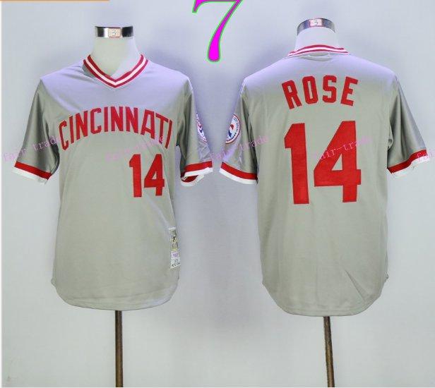 Cincinnati Reds 14 Pete Rose Flexbase Vintage Throwback Pullover Gray 1976 Cooperstown Jersey 2