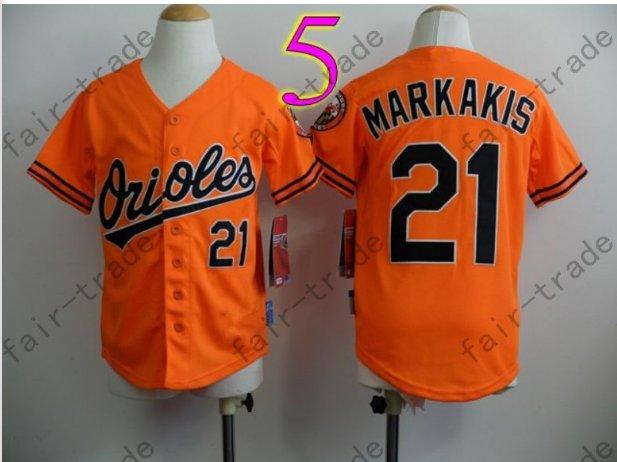 Baltimore Orioles Youth Jersey 21 Nick Markakis Kid Orange