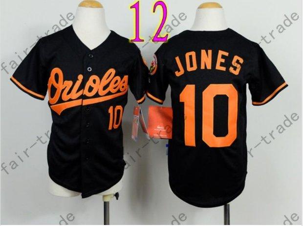 Baltimore Orioles Youth Jersey 10 Adam Jones Kid Black