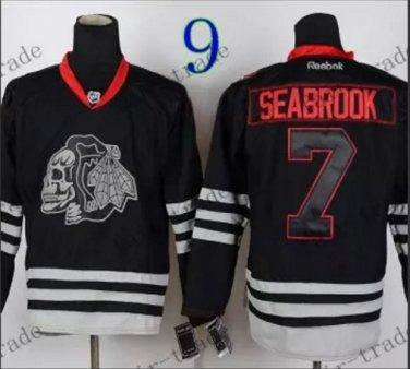 Chicago Blackhawks #7 Brent Seabrook Black Ice And Skull Stitched Hockey Jerseys Style 2