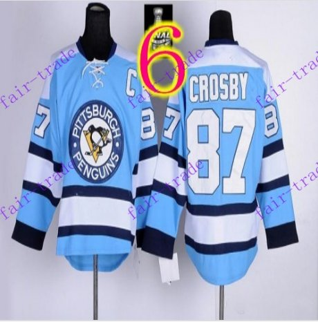 Stitched Pittsburgh Penguins #87 Sidney Crosby Blue Hockey Jerseys Ice Jersey Style 4
