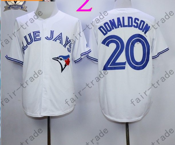 Toronto Blue Jays #20 Josh Donaldson White 40th Anniversary Patch Stitched Jersey Style 3