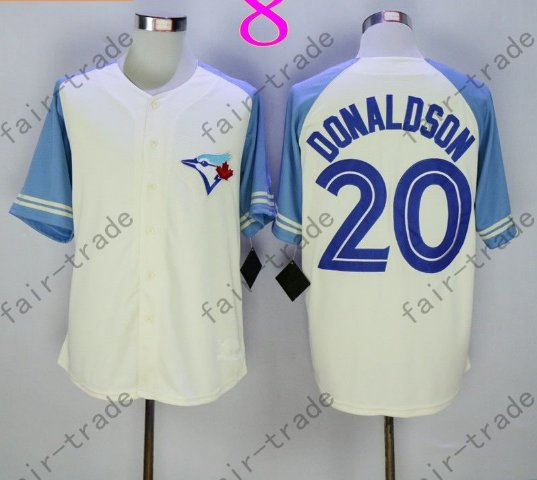 Toronto Blue Jays #20 Josh Donaldson White 40th Anniversary Patch Stitched Jersey Style 1