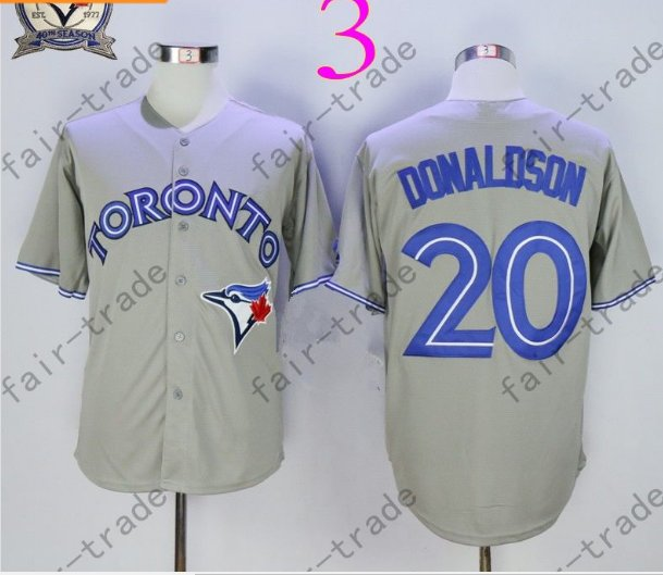 Toronto Blue Jays #20 Josh Donaldson Gray 40th Anniversary Patch Stitched Jersey