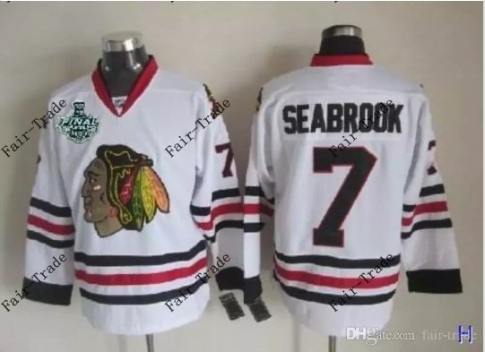 #7 brent seabrook Blackhawks jersey White Ice Hockey Jerseys 2015 Final Stanley Cup Patch