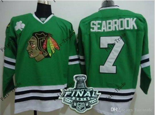 #7 brent seabrook Blackhawks jersey Green Ice Hockey Jerseys 2015 Final Stanley Cup Patch