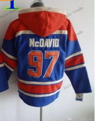 Edmonton #97 Connor Mcdavid Blue Hockey Hooded Stitched Old Time Hoodies Sweatshirt Jerseys