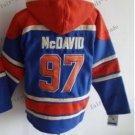 Edmonton #97 Connor Mcdavid Blue Hockey Hooded Stitched Old Time Hoodies Sweatshirt Jerseys