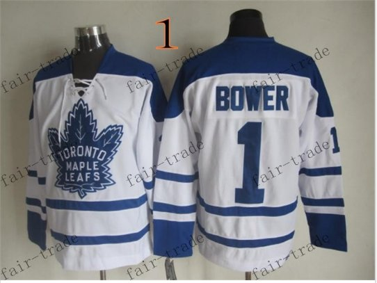 Toronto #1 Johnny Bower Throwback Vintage Jersey ICE Hockey Jerseys Heritage Stitched