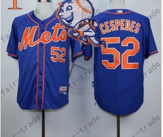 Yoenis Cespedes Jersey 2015 World Series Patch New York Mets Jersey Home Away Blue Style 1