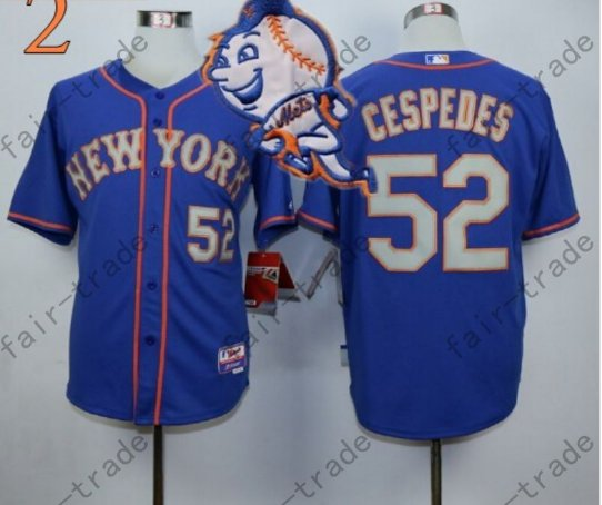 Yoenis Cespedes Jersey 2015 World Series Patch New York Mets Jersey Home Away Blue Style 2