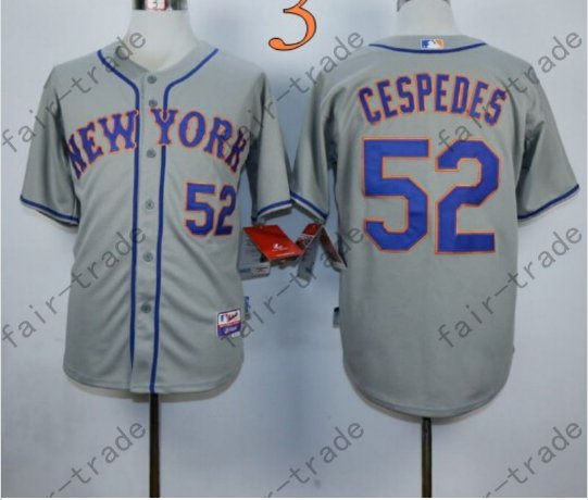 Yoenis Cespedes Jersey 2015 World Series Patch New York Mets Jersey Home Away Gray