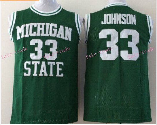 Johnson College Jersey Michigan State Spartans 33# Green Stitched