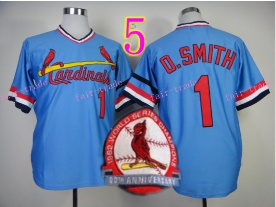 Ozzie Smith Jersey 1992 Retro Baby Blue 75th Patch Jerseys Style 1