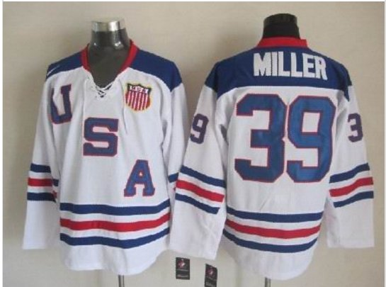 2010 Team USA Hockey Jersey Ice OLYMPIC Blue 39 Miller
