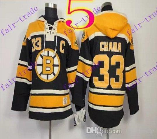 Stitched Boston Bruin Hoody #33 ZDENO CHARA Black Hockey Jerseys Ice Jersey