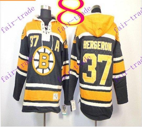 Stitched Boston Bruin Hoody #37 Patrice Berger Black Hockey Jerseys Ice Jersey