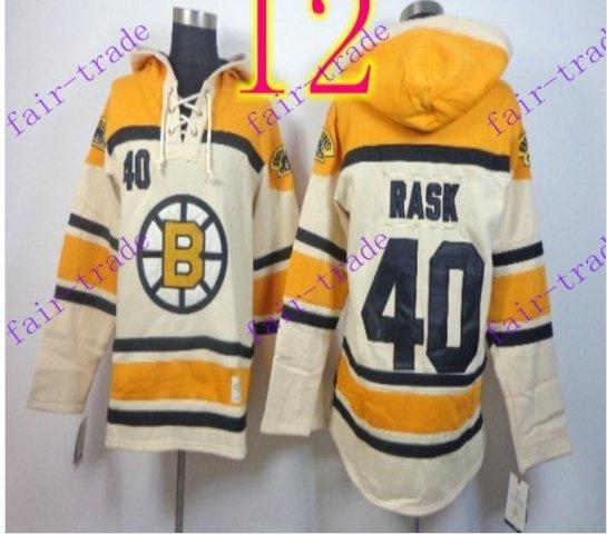 Stitched Boston Bruin Hoody #40 TUUKKA RASK Cream Hockey Jerseys Ice Jersey