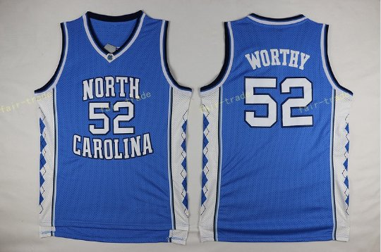 2017 North Carolina Tar Heels College 52 James Worthy Jersey Blue