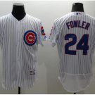 With 2016 World Series Patch Chicago Cubs Baseball Jerseys 24 Dexter Fowler Flexbase Cool Base White