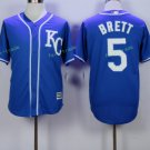 Kansas City Royals #5 George Brett Away Jersey Blue  KC Throwback Pullover Stitched Style 2