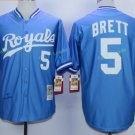 Kansas City Royals #5 George Brett Away Jersey Blue  KC Throwback Pullover Stitched Style 5