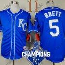 #5 George Brett Jersey Blue Throwback Kansas City Royals Jerseys Style 7