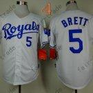 #5 George Brett Jersey White Throwback Kansas City Royals Jerseys Style 3