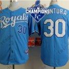 #30 Yordano Ventura Jersey Stitched Kansas City Royals Jerseys KC Blue Style 5