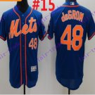 2016 Flexbase Stitched New York Mets 48 DeGrom Blue Throwback Jersey