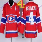 Stitched Montreal # 4 Jean Beliveau Red winter classic Ice Hockey Jersey