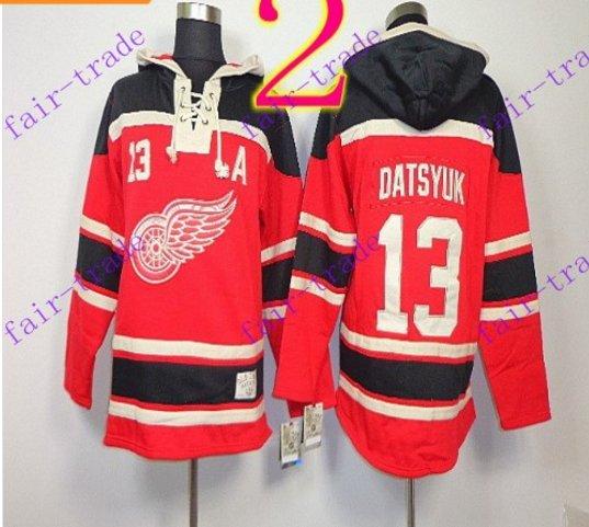 Stitched Detroit Red Wings Hoody #13 Datsyuk Hockey men Red Jerseys Ice Jersey