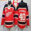Stitched Detroit Red Wings Hoody #40 Zetterberg  Hockey men Red Jerseys Ice Jersey