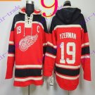 Stitched Detroit Red Wings Hoody #19 Yzerman Hockey men Red Jerseys Ice Jersey