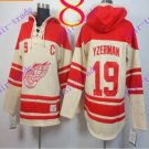 Stitched Detroit Red Wings Hoody #19 Yzerman Hockey men Cream Jerseys Ice Jersey